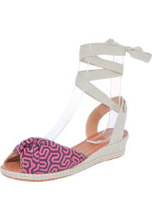 Sandália Dafiti Shoes Anabela Geométrica Preta/Rosa