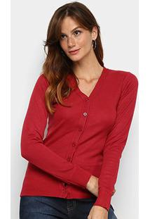 Cardigan Tricô Fashion Básico Feminino - Feminino-Vermelho
