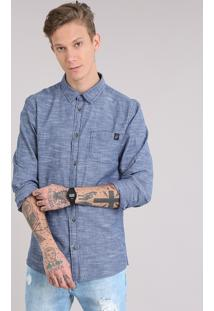 Camisa Masculina Com Bolso Manga Longa Azul