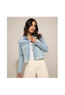 Jaqueta Cropped Jeans Destroyed Azul Claro