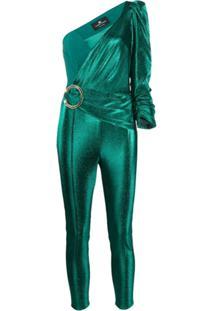 Elisabetta Franchi One Shoulder Fitted Jumpsuit - Verde