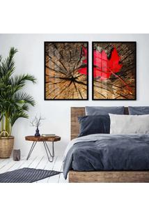 Quadro 65X90Cm Canadã¡ Vermelho Sobre Tronco Moldura Preta Sem Vidro - Multicolorido - Dafiti