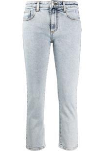 Msgm Calça Jeans Cropped - Azul
