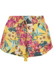 Short 284 Flores Tassel Amarelo
