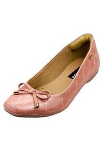 Sapatilha Bico Quadrado Love Shoes Confort Matelasse Laçinho Verniz Rosa