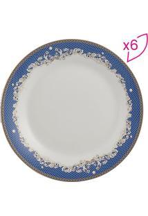 Jogo De Pratos De Jantar Cedro- Branco & Azul- 6Pçs
