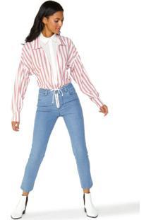 Calça Jeans Skinny Cadarço Cintura