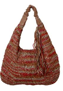 Bolsa Laura Prado Sacola Trico Vermelho/Bege