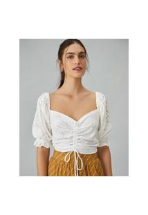 Amaro Feminino Blusa Cropped Malha Laise Frente Ajustável, Off-White