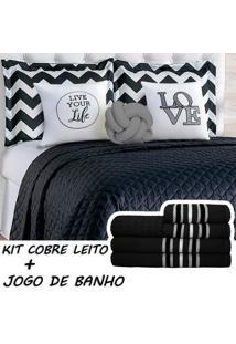 Kit Combo Cobre Leito C/ Jogo De Banho Isabela Preto/Cinza Casal 13 Peças - Tricae