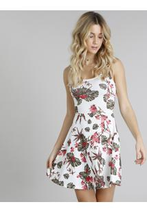 eb9c7b907 CEA. Vestido Poliester Elastano Decote Redondo Off White Evasê Alças Sem  Manga Curto Estampado Clock Floral Textura Feminino