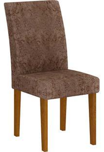 Cadeira Grécia Suede Amassado - Rufato - Imbuia / Chocolate