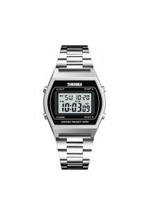 Relógio Masculino Skmei -1328- Prata E Preto