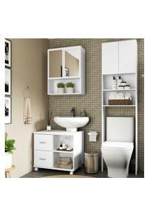 Armário De Banheiro C/ Espelho E 2 Portas, Balcáo De Pia E Armário P/ Vaso Sanitário Multimóveis Bco