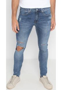 Jeans Skinny Estonado Com Puídos- Azul- Calvin Kleincalvin Klein