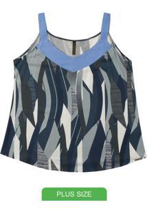 Blusa Decote V Com Alça Larga Azul