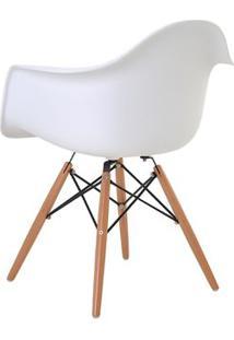 Cadeira Eames Eiffel Rivatti Com Braço Pp Base Madeira Branco