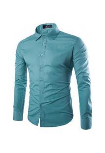 Camisa Social Slim Fit Solid - Verde Turquesa