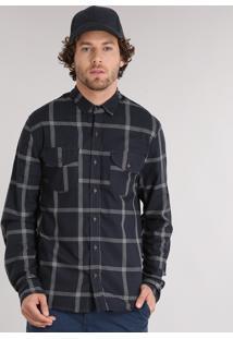 Camisa Masculina Xadrez Manga Longa Com Bolsos Chumbo