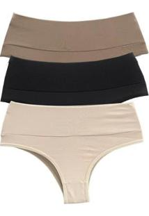 Kit 3 Calcinhas Feminina Cintura Alta Conforto Casual - Feminino-Nude