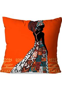 Capa Para Almofada Avulsa Decorativa Africana Laranja 45X45Cm