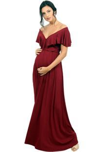 Vestido Gestante Amamentação Vinho Tribo Donna