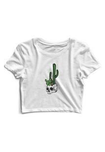 Blusa Blusinha Cropped Tshirt Camiseta Feminina Caveira Cactos Skull Branco