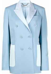 Stella Mccartney Blazer Com Abotoamento Duplo E Recortes - Azul