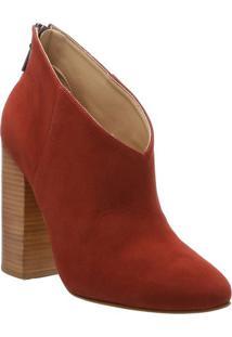 Ankle Boot Em Couro Acamurã§Ada- Vermelha & Marrom Claro