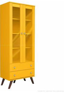 Estante Livreiro 2 Portas Com Vidro E 2 Gavetas Esm 217 Com Pés Palito Amarelo - Móvel Bento