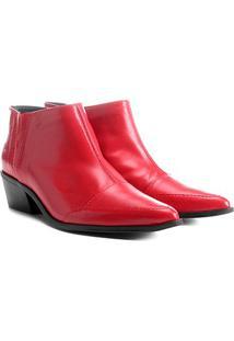 Bota Couro Cano Curto Shoestock Bico Fino Feminina - Feminino-Vermelho