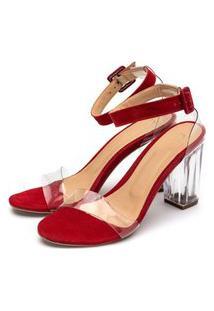 Sandalia Vermelha Salto Transparente Julia Andara