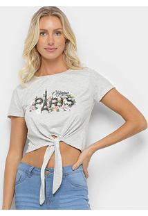 Camiseta Sofia Fashion Cropped Paris Nó Feminina - Feminino-Mescla