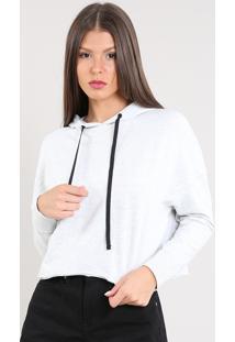 Blusão Feminino Em Moletom Cropped Com Capuz Cinza Mescla Claro
