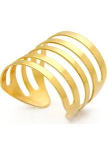 Anel Gladiador Horus Import Listrado Dourado