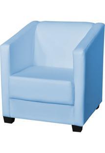 Poltrona Decorativa Valéria Com Pés Em Pvc Corino Azul Bebê - Js Móveis