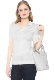Camisa Polo Dudalina Tricot Lisa Off-White