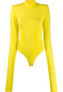 Unravel Project Body Gola Alta De Tricô - Amarelo