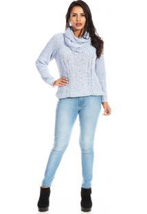 Blusa Dioxes Manga Longa De Tricot Com Gola Sobreposta Azul