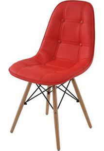 Cadeira Eames Eiffel Botone Vermelha Base Madeira - 26682 - Sun House