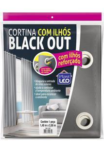Cortina Blackout Plastleo 1,40X2,00M Cinza Com Ilhós Pvc