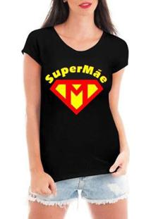 Blusa Criativa Urbana Super Mãe Dia Das Mães T-Shirt Feminina - Feminino-Preto