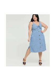 Vestido Feminino Jeans Alças Finas Plus Size Marisa