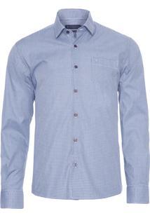 Camisa Masculina Xadrez Com Bolso - Azul