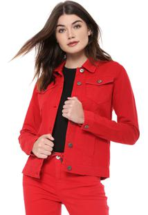 Jaqueta Sarja Ellus Smooth Color Vermelha