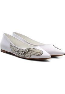Sapatilha Shoestock Noiva Feminina - Feminino-Branco