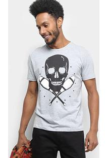 Camiseta Ellus Caveira Cotton Fine Ah Juggler Masculina - Masculino-Cinza