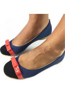 Sapatilha Likka Calçados Bico Redondo Azul Marinho E Preto Laço Vermelho