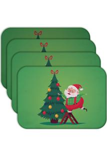 Jogo Americano Love Decor Cute Noel Green Kit Com 4 Peças