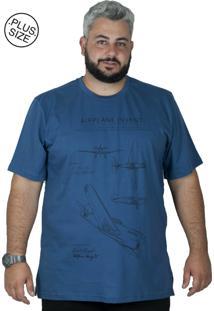 Camiseta Bigshirts Estampa Airplane Azul